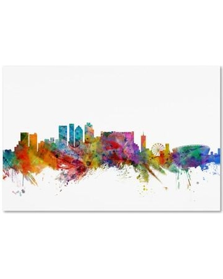 """Trademark Fine Art 'Cape Town South Africa Skyline' Graphic Art Print on Wrapped Canvas MT0769-C Size: 22"""" H x 32"""" W x 2"""" D"""