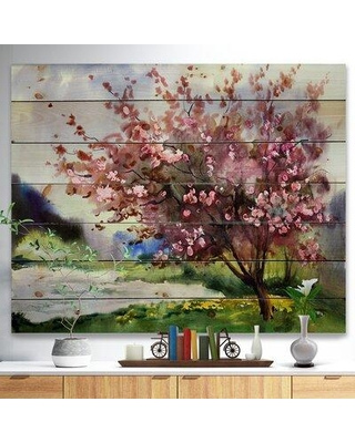 """East Urban Home 'Tree with Spring Flowers' Painting ERNH3322 Format: Wrapped Canvas Size: 16"""" H x 32"""" W x 1"""" D"""