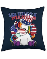 Unicorn Fourth of July - USA Independence 4th of July Unicorn Throw Pillow, 18x18, Multicolor