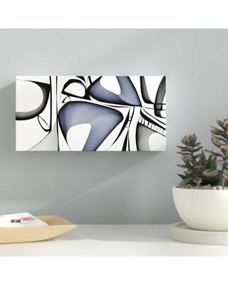 """Latitude Run 'Mid Century Abstract 1' Graphic Art Print LDER6654 Size: 6"""" H x 12"""" W x 2"""" D Format: Wrapped Canvas"""