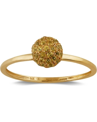 Artisan - 18K Gold Ring With Pave Yellow Sapphire Bead