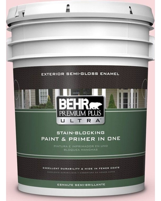 BEHR Premium Plus Ultra 5 gal. #130C-1 Powdered Blush Semi-Gloss Enamel Exterior Paint and Primer in One