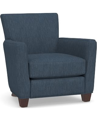 Irving Square Arm Upholstered Recliner without Nailheads, Polyester Wrapped Cushions, Performance Heathered Tweed Indigo