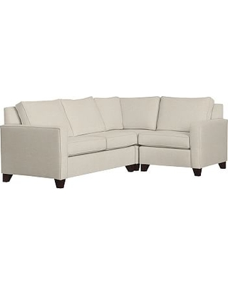 Cameron Square Arm Upholstered Left Arm 3-Piece Corner Sectional, Polyester Wrapped Cushions, Textured Basketweave Flax
