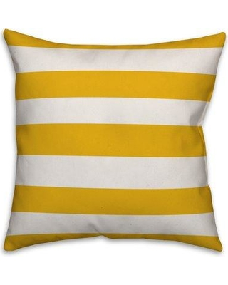 """Highland Dunes Cardin Cabana Stripe Throw Pillow W001420973 Size: 18"""" x 18"""" Color: Yellow Fill Material: No Fill"""