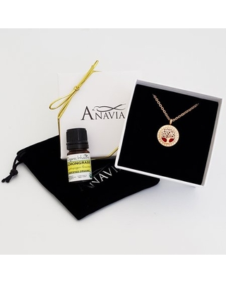 Anavia Aromatherapy Starter Kit Tree of Life Diffuser Crystal Necklace & Organic Gift for Wife Fiancee Girlfriend Essential Oil Day Gift for Her Jewelry Gift Set - Rose Gold Necklace Lemongrass Oil