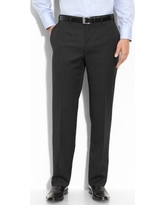 Men's Canali Flat Front Wool Trousers, Size 46R EU - Black