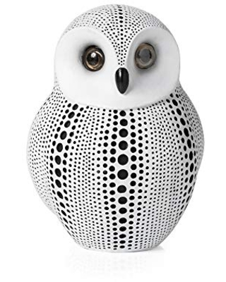 Torre & Tagus Debossed Dotted Owl Animal Figurine and Sculpture for Home Decor Accents, Living Room, Office Workspace, 5x3.5x6.5, White