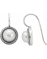 PearLustre by Imperial Freshwater Cultured Pearl Sterling Silver Halo Drop Earrings, Women's, White