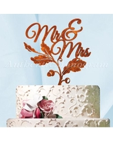 aMonogram Art Unlimited Mr. and Mrs. Fall Cake Topper 94245F Color: Gold Glitter