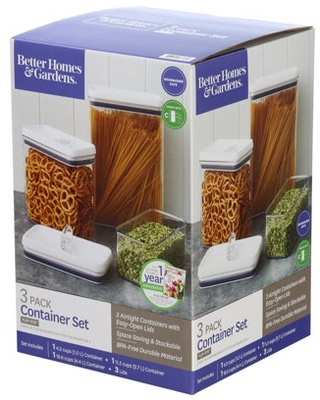 Better Homes & Gardens Flip-Tite Rectangular Container Assorted Cup Sizes, Set of 3