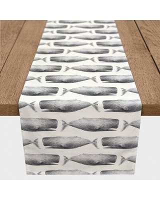 """Longshore Tides Mckinley Whales Table Runner X113953015 Color: Gray Size: 72"""" L x 16"""" W"""