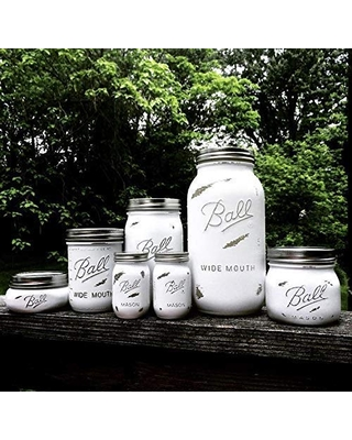 6 Piece Rustic White Farmhouse Style Mason Jar Kitchen Canister Set with Salt and Pepper Shakers, Custom Colors Available