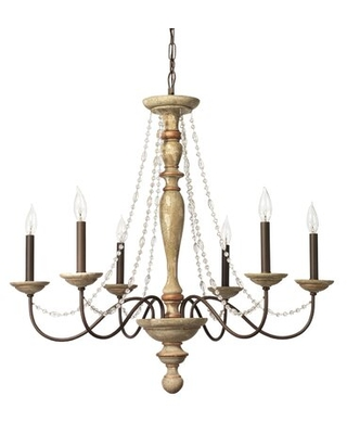 6 - Light Candle Style Classic / Traditional Chandelier with Beaded Accents