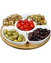 """Elama Signature Lazy Susan Appetizer and Condiment Server Set with 5 Serving Dishes and a Bamboo Lazy Suzan Serving Tray, 12 1/4"""" L and W, 6 Piece"""