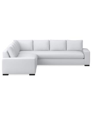 Robertson Sectional, Left 2-Piece L-Shape Sofa, Down Cushion, Perennials Performance Canvas, White