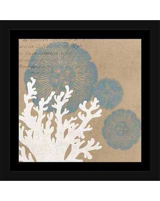 Coral Vector Silhouette Jellyfish Illustration Burlap Coastal Painting Tan & Blue, Framed Canvas Art by Pied Piper Creative
