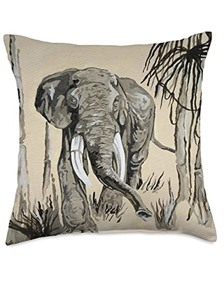 taiche Elephant Art in Brown and Greige Throw Pillow, 18x18, Multicolor