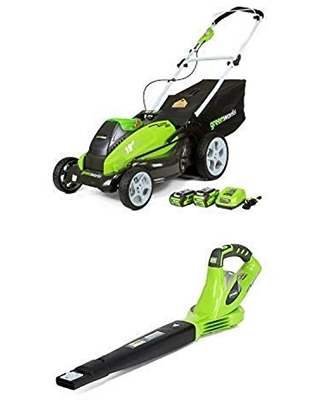 Greenworks 19-Inch 40V Cordless Lawn Mower with 40V 150 MPH Variable Speed Cordless Blower Battery Not Included 24282