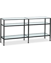 Tanner Metal U0026 Glass Long Console Table, Matte Iron Bronze Finish