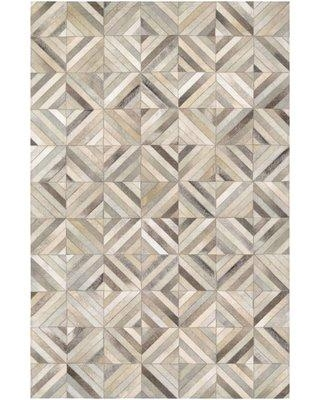 "Williston Forge Easthampton Hand-Woven Cowhide Leather Ivory Area Rug WLFR2600 Rug Size: Rectangle 3'4"" x 5'4"""