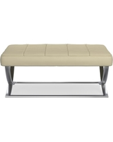 James Nickel Ottoman, Large, Solid, Faux Suede, Champagne