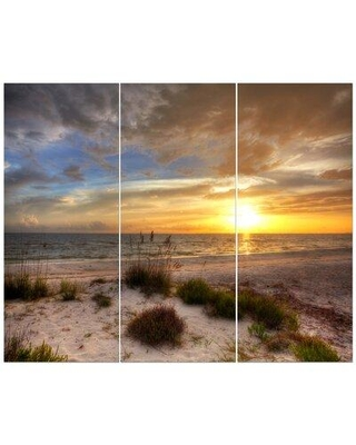 East Urban Home 'Sandy Beach with Sunset' Photographic Print Multi-Piece Image on Wrapped Canvas FCIV4012