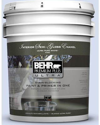 BEHR Premium Plus Ultra 5 gal. #610C-1 Northern Star Semi-Gloss Enamel Interior Paint and Primer in One