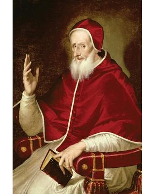 """Astoria Grand Portrait of Pope Pius V c.1571 Painting Print on Wrapped Canvas ASTG4701 Size: 12"""" H x 8"""" W x 0.75"""" D"""