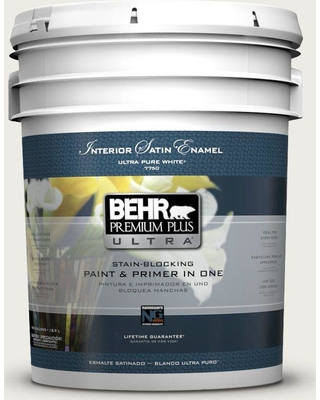BEHR Premium Plus Ultra 5 gal. #bwc-20 Melting Icicles Satin Enamel Interior Paint and Primer in One