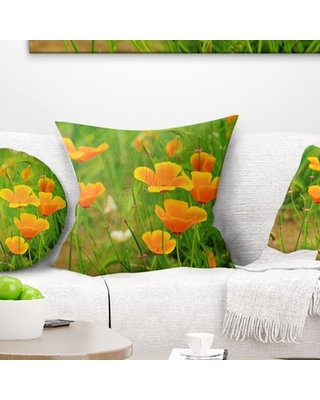 """Floral Poppy Flowers Throw Pillow East Urban Home Size: 18"""" x 18"""", Product Type: Throw Pillow"""