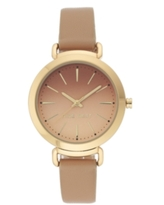 Nine West Women's Gold-Tone and Tan Strap Watch, 36mm