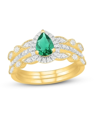 Emerald & Diamond Double Band Bridal Set 3/8 ct tw 10K Yellow Gold
