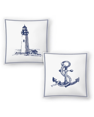 Anchor and Lighthouse Set of 2 Decorative Pillows (20x20)