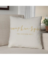 """The Holiday Aisle Pumpkin Spice Indoor/Outdoor Throw Pillow HLDY1213 Size: 20"""" H x 20"""" W x 4"""" D, Color: White/Yellow"""