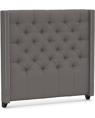 Harper Upholstered Tufted Tall Headboard with Pewter Nailheads, King, Sunbrella(R) Performance Slub Tweed Charcoal