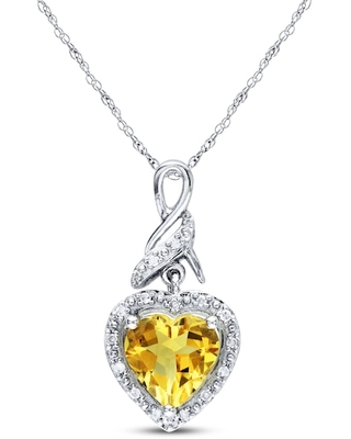 Jared The Galleria Of Jewelry Citrine Heart Necklace 1/20 ct tw Diamonds Sterling Silver