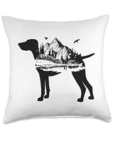 Shorthaired Terriers GSP Gift German Shorthair Pointer Mom Nature Lover Silhouette Dog Throw Pillow, 18x18, Multicolor