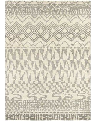 """Bloomsbury Market Thelma Hand-Knotted Wool Beige/Light Gray Area Rug BLMK4614 Rug Size: Rectangle 4'7"""" x 6'7"""""""