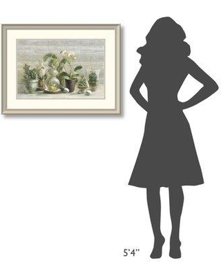 """East Urban Home 'Greenhouse Orchids on Wood v2' Print ESUM6311 Size: 25.25"""" H x 33.25"""" W Format: White Framed"""