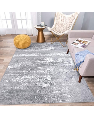 """Rugshop Distressed Abstract Watercolor Area Rug 7'10"""" x 10' Gray"""