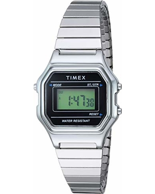 09b8f4bfc Timex Women's TW2T48200 Classic Digital Mini Silver-Tone/Black Stainless  Steel Expansion Band Watch