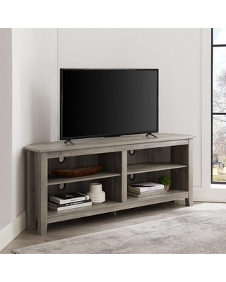Walker Edison Furniture Company 58 in. Gray Wash Composite Corner TV Stand 64 in. with Adjustable Shelves, Grey Wash
