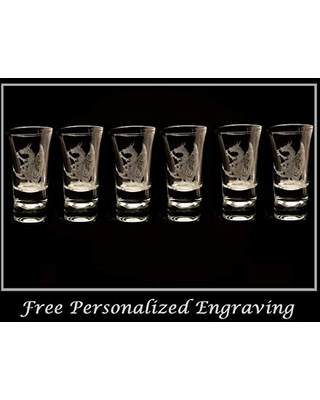 Celtic Dragon Shot Glass Set of 6 - Free Personalized Engraving
