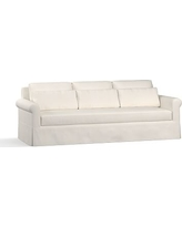 "York Roll Arm Slipcovered Deep Seat Grand Sofa 98"" with Bench Cushion, Down Blend Wrapped Cushions, Denim Warm White"