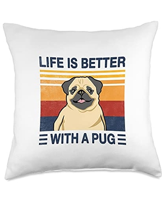 Vintage Gift idea for Pug Lover and Pug Owner Life is better with a Pug Vintage Dog Design Puppy Lover Throw Pillow, 18x18, Multicolor