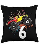 Cool kids birthday & theme party costume designs 6 years birthday monster truck gift Throw Pillow, 18x18, Multicolor