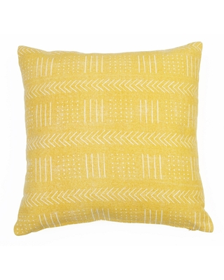"""20""""x20"""" Oversize Mindy Mudcloth Printed Woven Square Throw Pillow Yellow - Decor Therapy"""