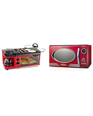 Nostalgia Retro Red 3-in-1 Breakfast Station and 0.9 Cu.Ft Microwave Oven Bundle