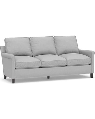 "Tyler Roll Arm Upholstered Sofa 78"" without Nailheads, Down Blend Wrapped Cushions, Brushed Crossweave Light Gray"